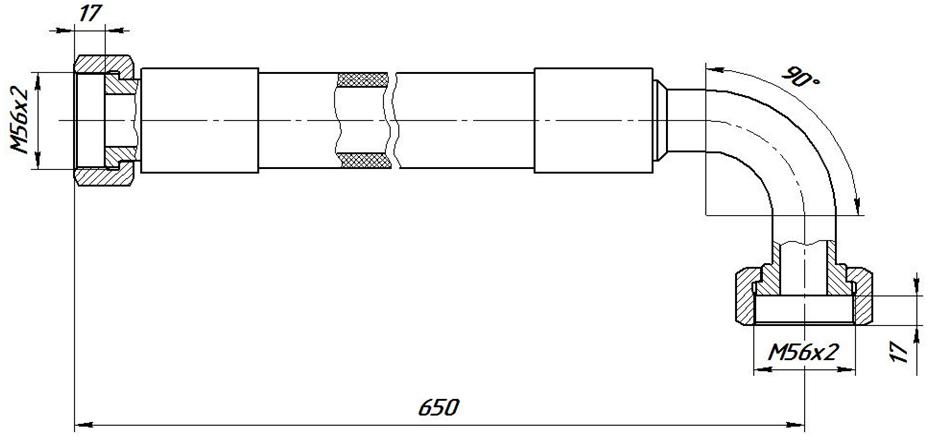 Рукав высокого давления РВД У-38-65